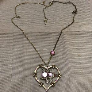 Betsey Johnson love birds long necklace
